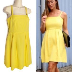 Loft Textured Yellow Fit & Flare Sundress Sz 2